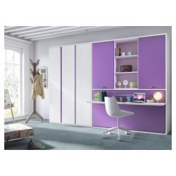 dormitorio juvenil cama plegable con escritorio retractil